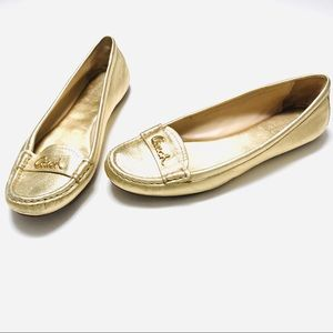 Gold Coach Olson women's metallic size 8 loafers